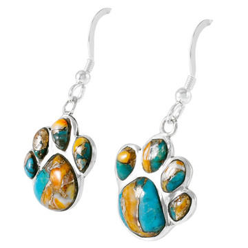 Sterling Silver Paw Earrings Spiny Turquoise E1240-C89