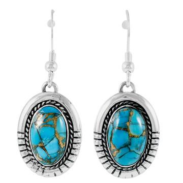 Sterling Silver Drop Earrings Matrix Turquoise E1308-C84
