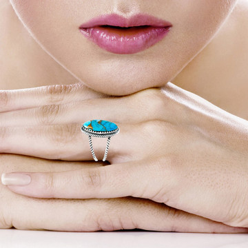 Matrix Turquoise Ring Sterling Silver R2449-C84