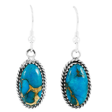 Matrix Turquoise Earrings Sterling Silver E1310-C84