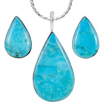 Sterling Silver Pendant & Earrings Set Turquoise PE4057-C75