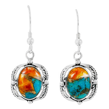 Spiny Turquoise Earrings Sterling Silver E1311-C89