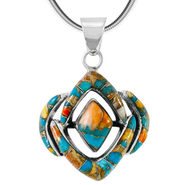 Spiny Turquoise Pendant Sterling Silver P3115-C89