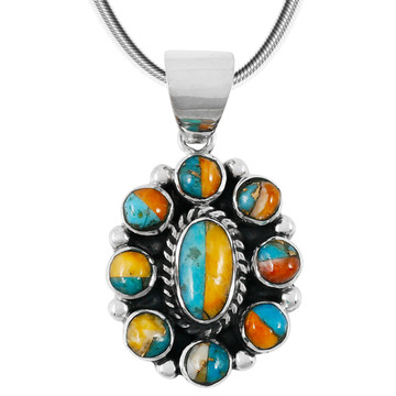Spiny Turquoise Pendant Sterling Silver P3276-C89