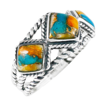 Spiny Turquoise Ring Sterling Silver R2453-C89