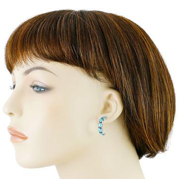 Sterling Silver Hoop Earrings Turquoise E1325-C75
