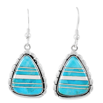 Sterling Silver Drop Earrings Turquoise E1326-C05