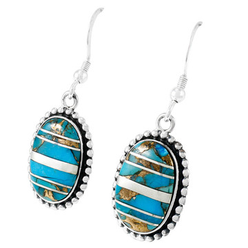 Sterling Silver Drop Earrings Matrix Turquoise E1323-C84