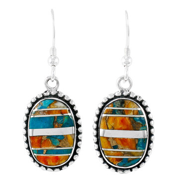 Sterling Silver Drop Earrings Spiny Turquoise E1323-C89B