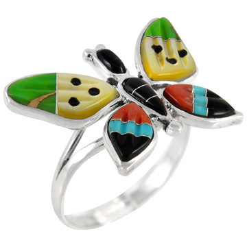 Butterfly Ring Sterling Silver Multi Gemstone R2287-C01