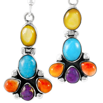 Sterling Silver Earrings Multi Gemstones E1327-C71