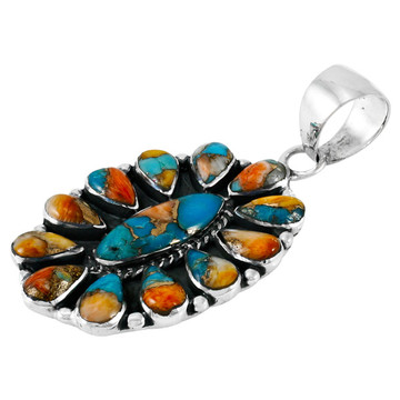 Spiny Turquoise Pendant Sterling Silver P3099-C89