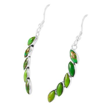 Green Turquoise Earrings Sterling Silver E1324-C76