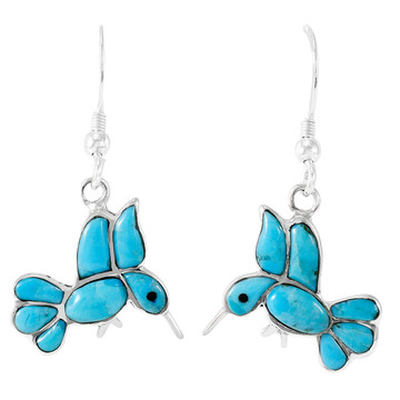 Sterling Silver Hummingbird Earrings Turquoise E1188W-C05