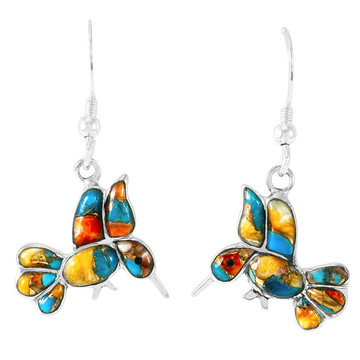 Sterling Silver Hummingbird Earrings Spiny Turquoise E1188W-C89