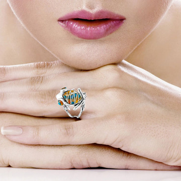 Frog Ring Sterling Silver Spiny Turquoise R2266-C89