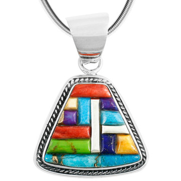 Sterling Silver Pendant Multi Gemstone P3282-C51