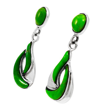 Green Turquoise Earrings Sterling Silver E1338-C76