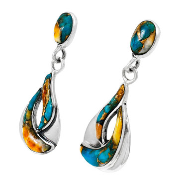 Spiny Turquoise Earrings Sterling Silver E1338-C89