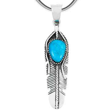 Turquoise Feather Pendant Sterling Silver P3285-C75