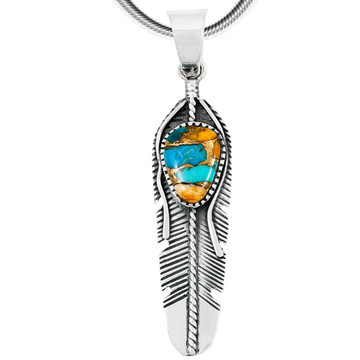 Spiny Turquoise Feather Pendant Sterling Silver P3285-C89