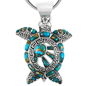 Sterling Silver Turtle Pendant Matrix Turquoise P3183-C84
