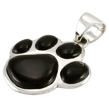 Sterling Silver Paw Pendant Black Shell P3178-C11