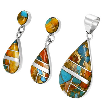 Spiny Turquoise Sterling Silver Pendant & Earrings Set PE4023-LG-C89