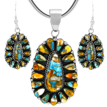 Spiny Turquoise Sterling Silver Pendant & Earrings Set PE4029-C89