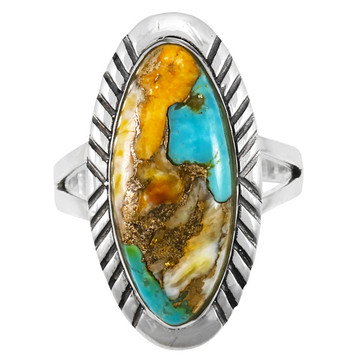 Spiny Turquoise Ring Sterling Silver R2459-SM-C89