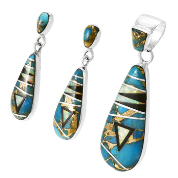 Matrix Turquoise Pendant & Earrings Set Sterling Silver PE4014-C24