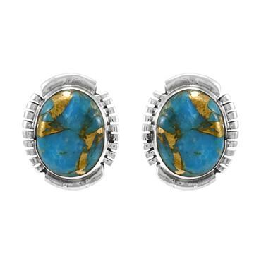 Matrix Turquoise Earrings Sterling Silver E1343-C84