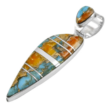 Spiny Turquoise Pendant Sterling Silver P3225-C89B