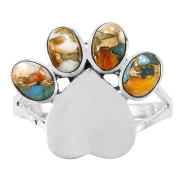 Paw Heart Ring Sterling Silver Spiny Turquoise R2473-C89