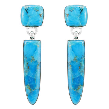 Turquoise Earrings Sterling Silver E1344-C75