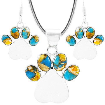 Dog Paw Spiny Turquoise Pendant & Earrings Set Sterling Silver PE4059-C89