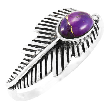 Purple Turquoise Feather Ring Sterling Silver R2474-C77