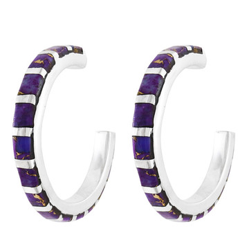 Purple Turquoise Hoop Earrings Sterling Silver E1122-C07