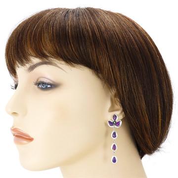 Purple Turquoise Chandelier Earrings Sterling Silver E1204-LG-C77