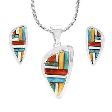 Multi Gemstone Pendant & Earrings Set Sterling Silver PE4006-C51