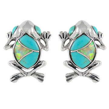 Frog Turquoise Jewelry Earrings Sterling Silver E1127-C21