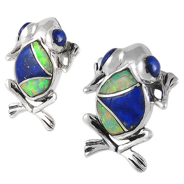 Frog Lapis Earrings Sterling Silver E1127-C28