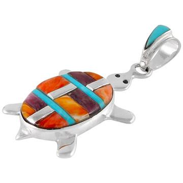 Turtle Multi Gemstone Pendant Sterling Silver P3069-C51