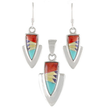 Multi Gemstone Pendant & Earrings Set Sterling Silver PE4001-C01