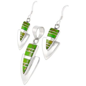 Green Turquoise Pendant & Earrings Set Sterling Silver PE4001-C06