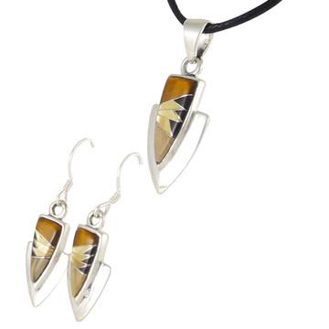 Tiger Eye Gemstone Pendant & Earrings Set Sterling Silver PE4001-C32