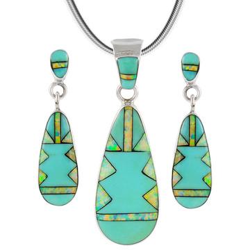 Turquoise Pendant & Earrings Set Sterling Silver PE4014-C21B