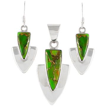 Green Turquoise Pendant & Earrings Set Sterling Silver PE4001-C76