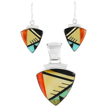 Multi Gemstone Pendant & Earrings Set Sterling Silver PE4004-C02