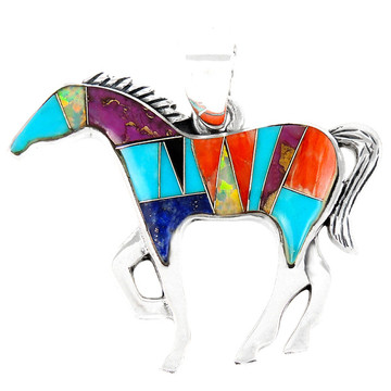 Horse Jewelry Pendant Sterling Silver Multi Gemstone P3049-SM-C01